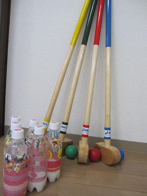 室内でグランドゴルフ・ボーリング